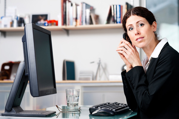 Woman on phone in office