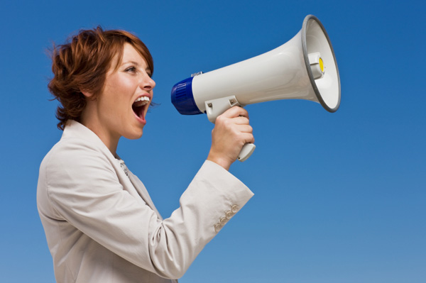 Image result for girl shouting at loudspeaker