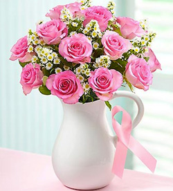 Pink Ribbon flower bouquet (