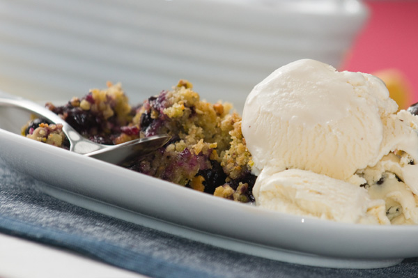 Apple and blueberry cobbler