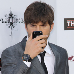 Ashton Kutcher on cell phone