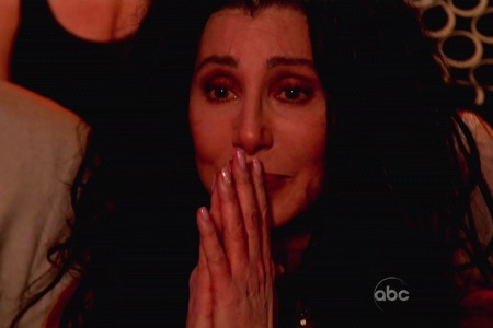 Cher cheers with tears in her eyes