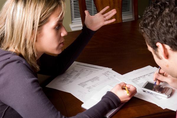 Couple arguing over finances