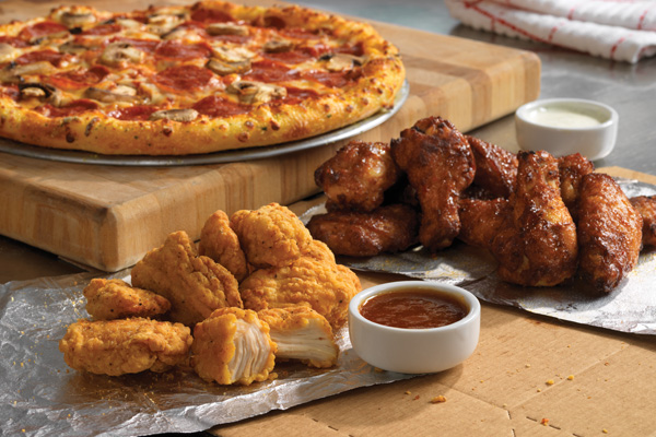 Domino's pizza and wings