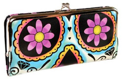 faux leather clutch wallet inspired by The Day of the Dead