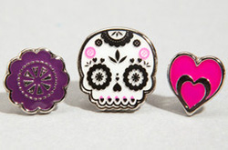 Day of the Dead-inspired stud earrings