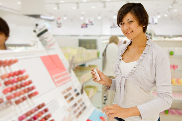Girl shopping for cosmetics