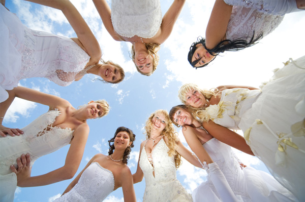 Group of happy brides