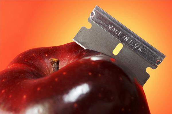Halloween apple with razor