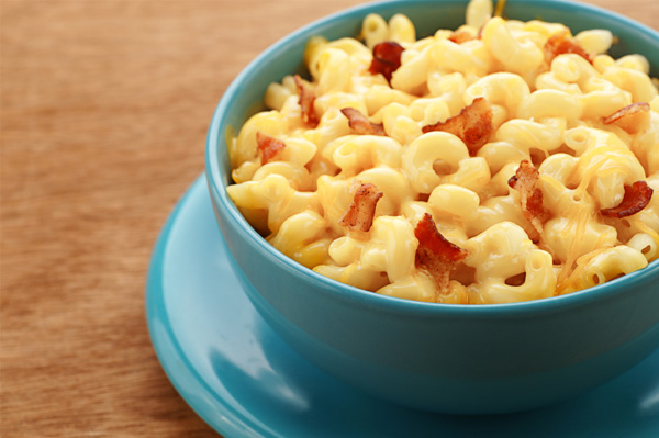 Homemade stove-top mac & cheese with bacon