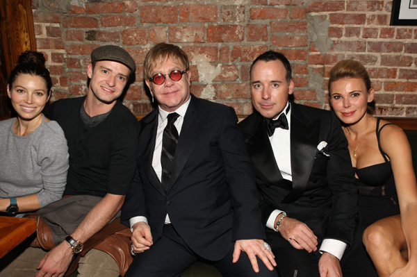 JT and Jessica Biel meet up with Elton John