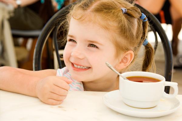 Preschooler in cafe