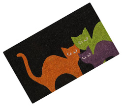 Scaredy cats door mat
