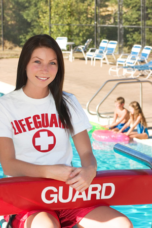 Teen working as lifeguard