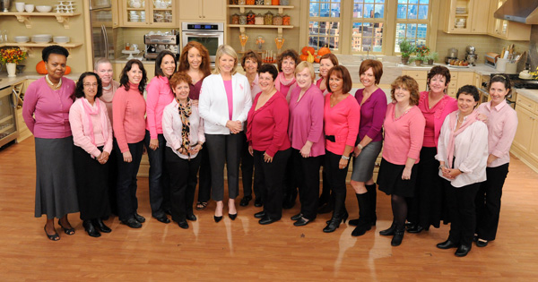 Martha Stewart and a group of cancer survivors from her studio audience are seen in this photo from the production of