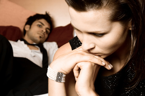 Woman thinking about breaking up with boyfriend