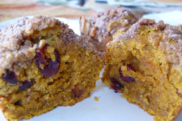 Cranberry pumpkin muffins with streusel topping