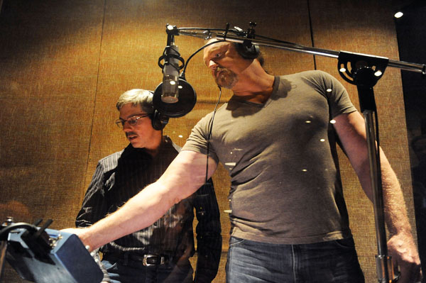 Trace Adkins and Dewey in the recording studio