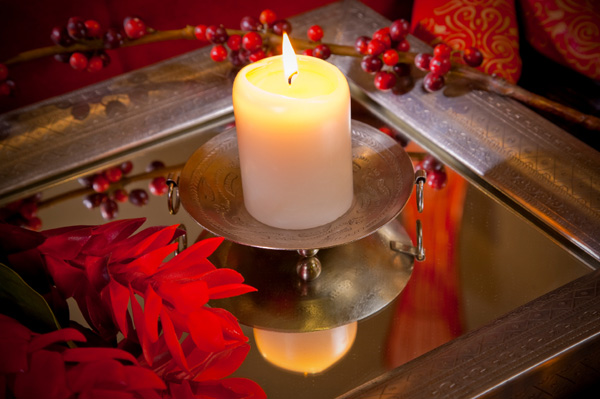 Christmas mirror and candle