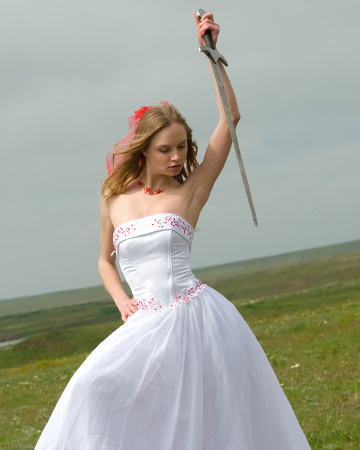 Crazy bride with sword