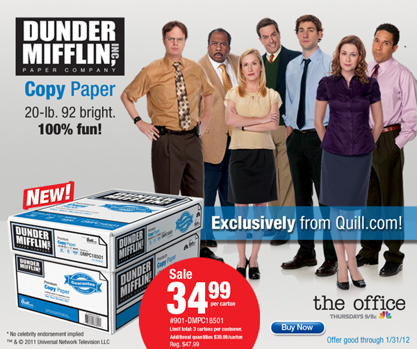 Dunder Mifflin paper from The Office