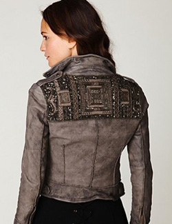embellished leather motorcycle jacket
