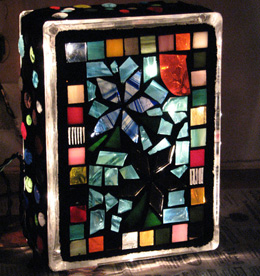 Mosaic lighted glass block