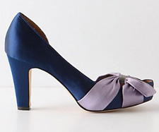 Navy and satin peep-toe