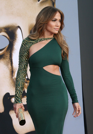 Jennifer Lopez wearing green dress