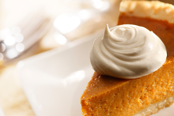 Pumpkin pie with maple whipped cream