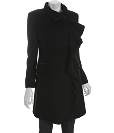 Our pick: Nicole Miller black wool-cashmere ruffle front coat (bluefly.com, $215)