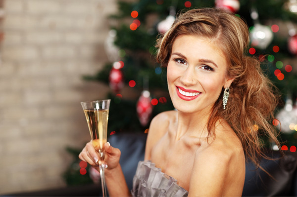 Single woman at Christmas party