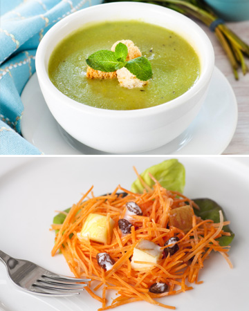 Pea soup and carrot raisin salad