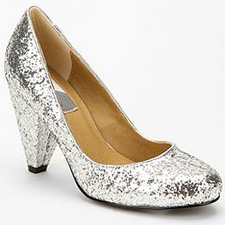 glitter silver pumps