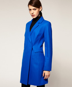 bright blue tailored winter coat (asos.com, $162)