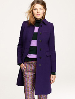 purple long wool winter coat (J. Crew, $298)