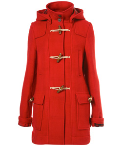 orangey-red wool duffel winter coat (Top Shop, $178)