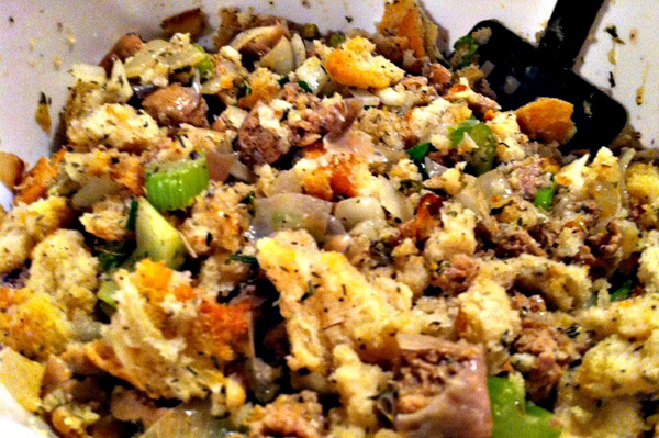 Turkey sausage stuffing