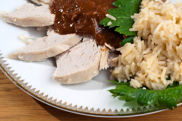 Leftover turkey with mole sauce