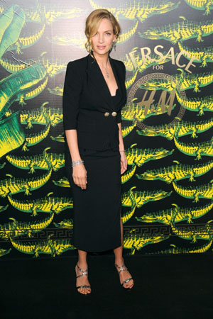 Uma Thurman at the Versace for H&M launch
