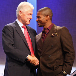 Usher with Bill Clinton