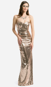 Nicole Miller gold sequin sweetheart gown, $125