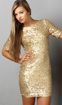 gold sequin dress, $79, from Lulus.com