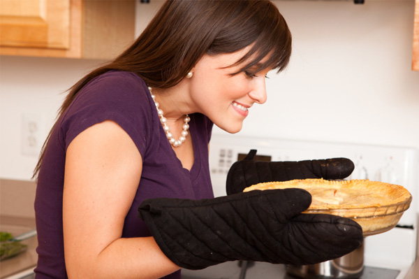 Woman baking pie