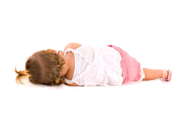 Toddler sleeping on floor