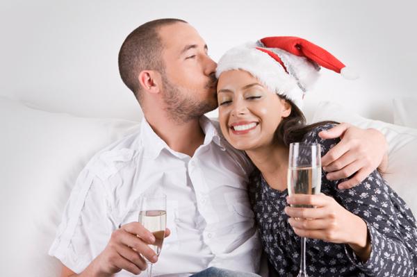 Couple celebrating New Year's Eve