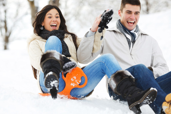 Couple on romantic sleigh ride