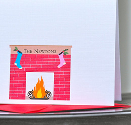 Cozy fireplace Christmas card