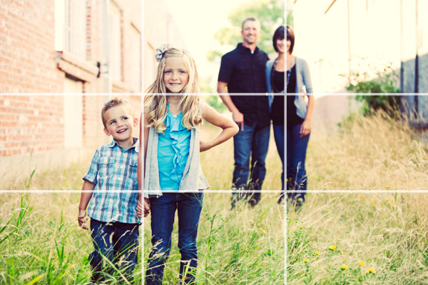 Family photo using rule of thirds