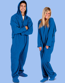 Forever Lazy Review First, there was the Snuggie, now there's Forever Lazy, a one-piece pajama suit created for adults and teens. This cozy suit features a zip-up front and zippered rear hatch along with a drawstring hood for extra warmth and comfort.